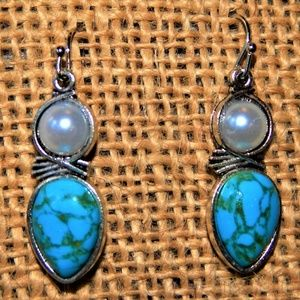 Precious Faux Pearl & Turquoise Earrings